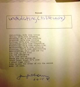 poem undulating DI